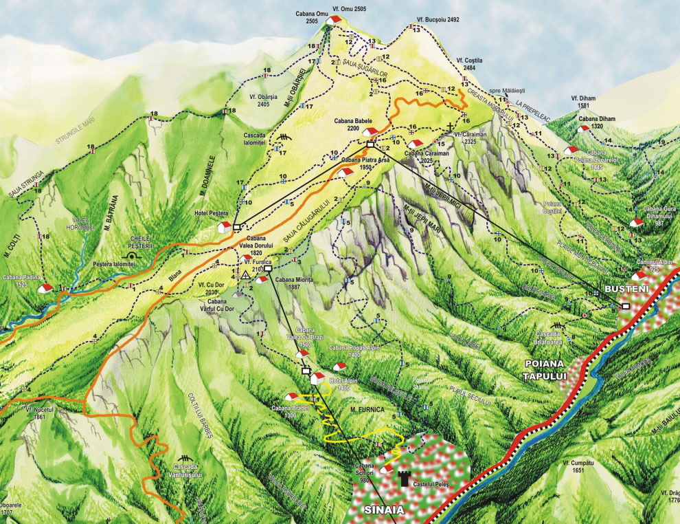 Cottage Map Bucegi Mountains